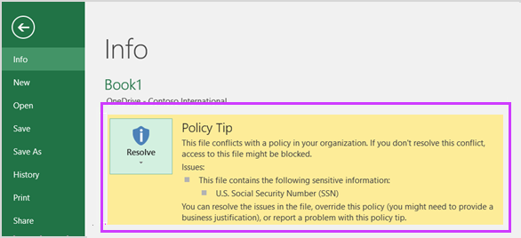 Backstage shows policy tip in Excel 2016