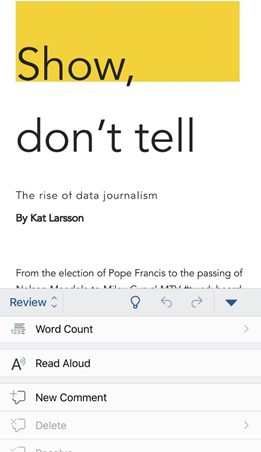 Word document with words highlighted as app reads them aloud.
