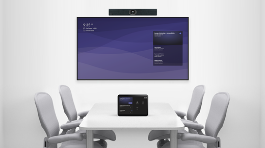 Meeting room with integrated device and console
