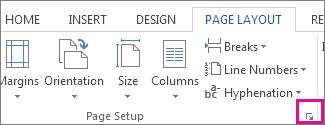 Button that opens the Page Setup box