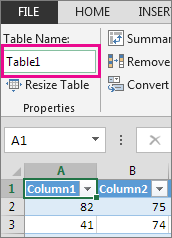 Rename a table in the Table name box