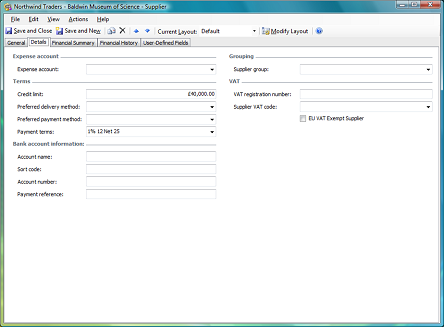 details tab on supplier form