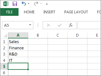 Create your drop-down list of entries in single column or row in Excel