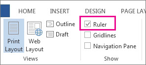Screenshot of the View tab in Word 2013, showing the Ruler option selected and highlighted.