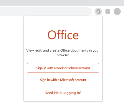 Image of a web browser showing the sign in prompt for Office extension