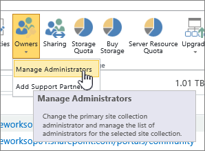 SPO Site administrator owners button with Manage Administrators highlighted.