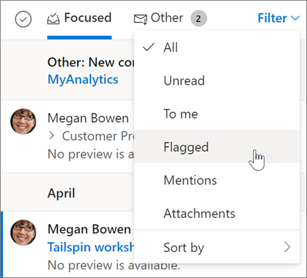 Flagging an email in Outlook on the web