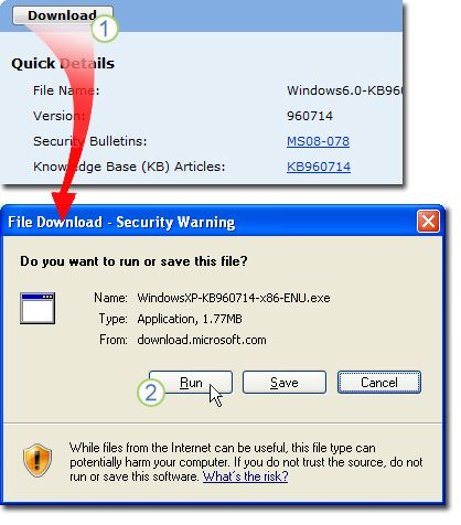 Select Download in the download page for KB960714. A window showing File Download - Security Warning appears; select Run to install the file automatically after downloading.
