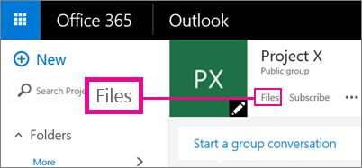 Screenshot of clicking Files in a Group to go to the OneDrive for the group