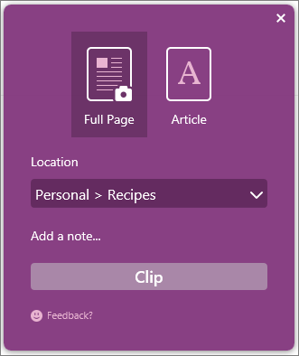 Screenshot of OneNote Clipper dialog box.