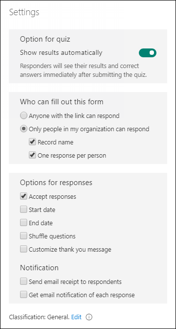 Adjust your form or quiz settings in Microsoft Forms