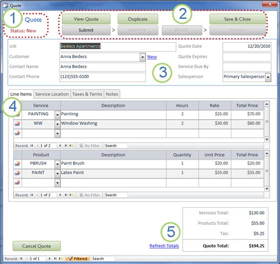 Turn quotes into paid invoices by using the Services Web Database ...