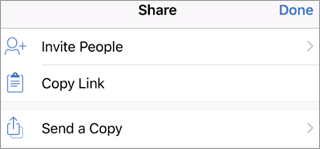 Showing Share options