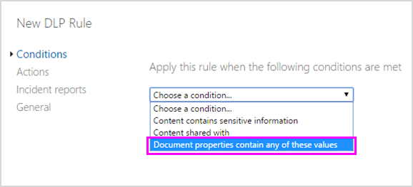 List of conditions with Document properties contain any of these values highlighted