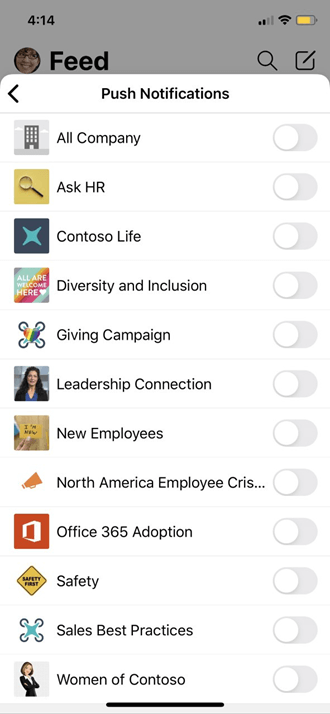 Push Yammer mobile profile settings