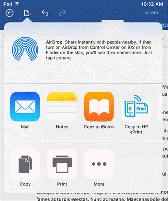 The Open in Another App dialog lets you send your document to another app to mail, print or share.