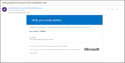 Email verification code