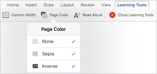 Showing Page Color options for Learning Tools