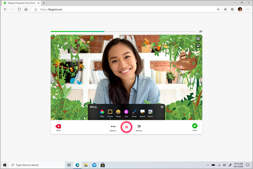 A browser open to Flipgrid with a female student's video
