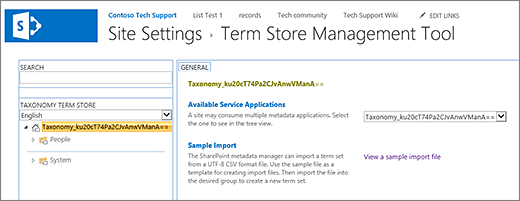 Term store management screen