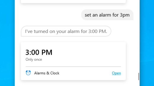 Set an alarm with Cortana in Windows
