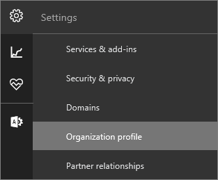 Screenshot of the Settings menu with Organization profile selected