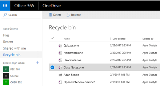 OneDrive Recycle bin with a list of notebook pages. Icons to Delete and Restore.