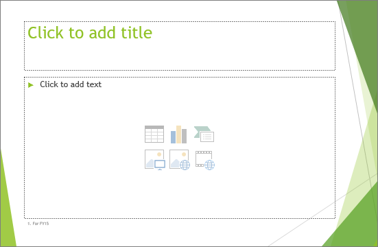 Shows placeholder Title and Content slide in PowerPoint