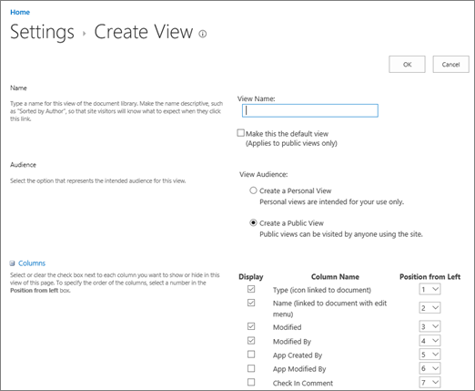 Create View Settings page