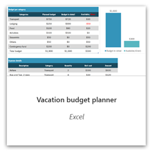 Vacation budget planner for Excel