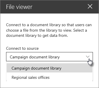 File viewer property pane with Connect to source dropdown