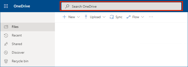 OneDrive for Business online with search bar at the top
