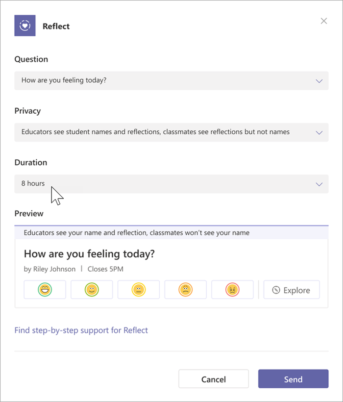 Screenshot of the educator creation step of Reflect. Categories to be filled in read: question, privacy, and duration. a preview of the student view is shown.