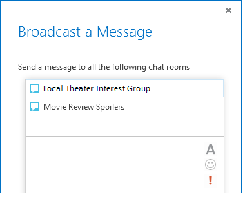 Screenshot of top of broadcast a message dialog box