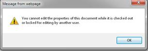 Message telling you that the file is locked by someone else