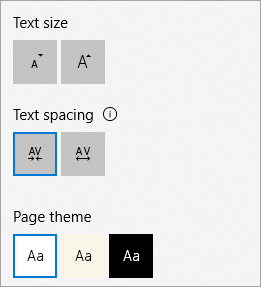 Text size, theme options, and text spacing menu