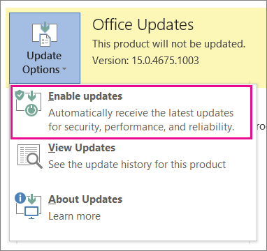 Enabling updates in Word