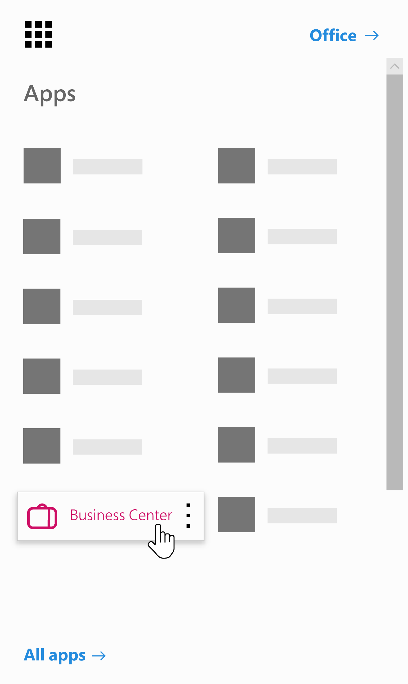The Office 365 app launcher with the Business Center app highlighted
