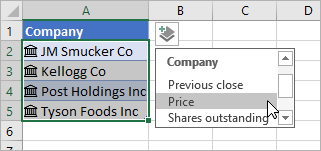 Cursor clicking Add Column and selecting Price from field list