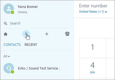 Screenshot showing where to make a phone call with Skype