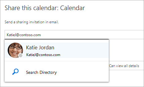 A screenshot of the Share this calendar dialog.