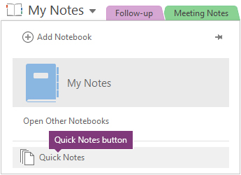 Quick Notes button at the bottom of the notebook list