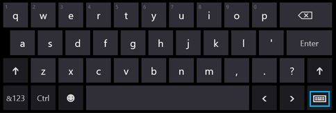 Language abbreviation button in the touch keyboard