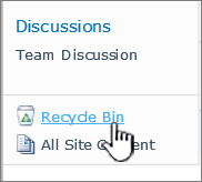 SharePoint 2010 Site Recycle link on Quick Launch bar