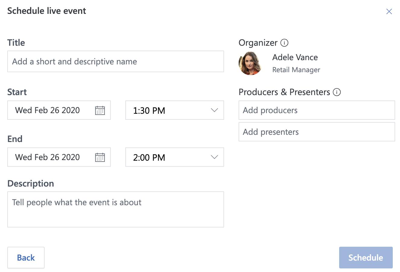 Live event dialog box
