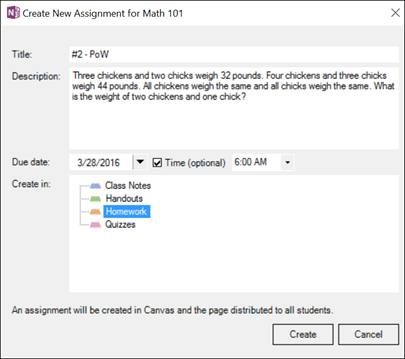 Screenshot of the Create New Assignment dialog box in the Class Notebook add-in.