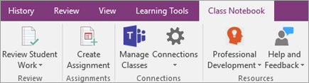Class Notebook tab in OneNote ribbon showing the Teams Manage Classes button.