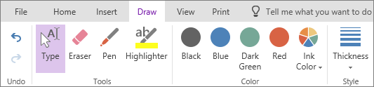 Draw tab in OneNote Online