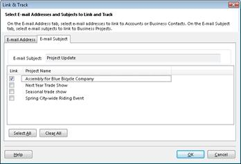 The Link and Track dialog box on the E-mail Subject tab, with a check box next to a Business Project selected.