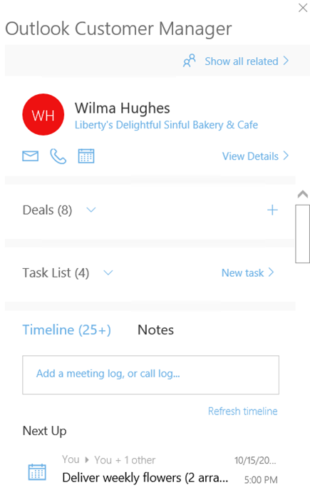 outlook customer manager welcome screen to add a meeting log